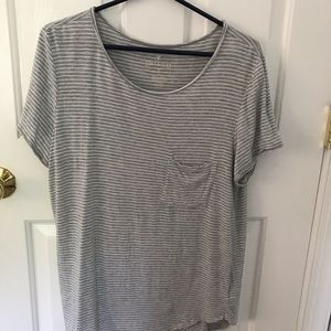 White and grey striped pocket tee